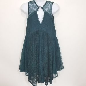 Free People Dont You Dare Green Lace Shift Dress